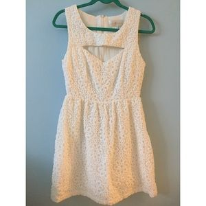 White crotchet floral dress